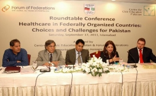 ISLAMABAD: Sep17 - Dr Saba Gul Khattak, Dr Nizam-ud-Din, Dr Mushtaq and Ferdinand Jenrich sitting on the stage during a Roundtable Conference on Healthcare in Federally Organized Countries: Choices and Challenges for Pakistan, organized by Center for Civic Education Pakistan in collaboration with Forum of Federations at a local hotel.